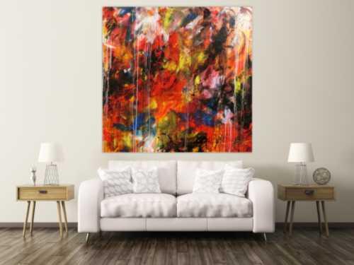 Abstraktes Acrylbild sehr modern bunt denkle Farben rot gelb blau weiß schwarz