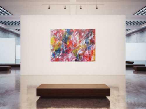 Abstraktes Acrylbild sehhe Farben sehr bunt modern und groß