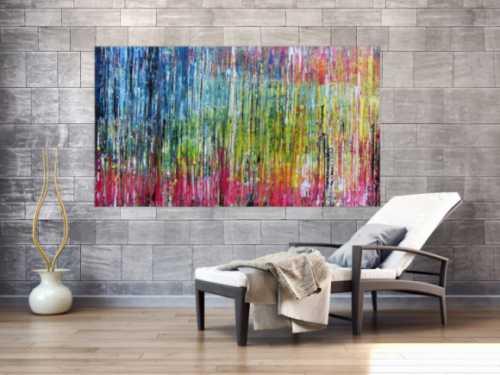 Abstraktes Acrylbild sehr bunt modern Spachteltechnik zeitgenössisches Gemälde