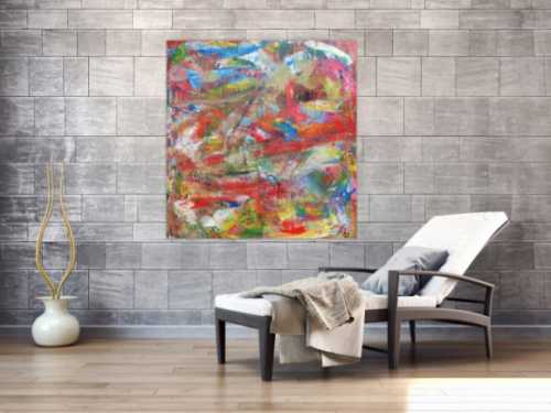 Abstraktes Acrylbild sehr bunt Mischtechnik viele Farben mit Struktur