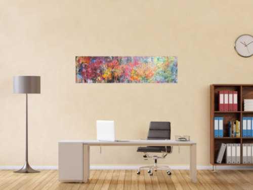 Abstraktes Gemälde Acrylbild Mischtechnik sehr bunt modern Panorama Format