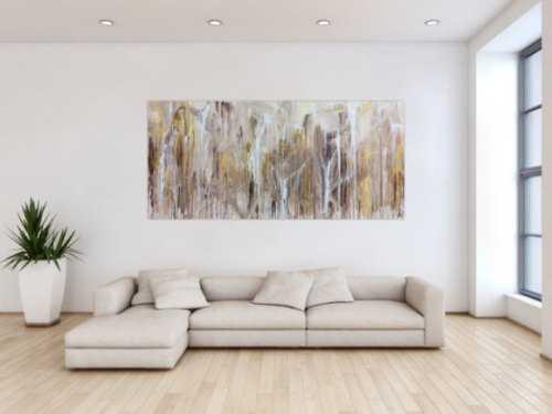 Abstraktes Acrylbild Fliesstechnik sehr modern helle mediterrane Farben weiß beige braun