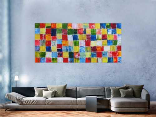 Abstraktes Acrylbild bunte Kacheln sehr modern viele Farben bunte Flächen