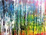 Detailaufnahme Abstraktes Acrylbild sehr bunt modern in Spachteltechnik zeitgenössisch mit vielen Farben