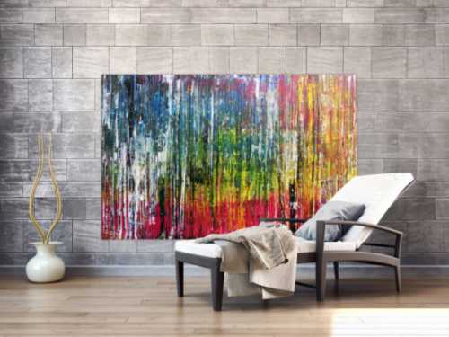 Abstraktes Acrylbild sehr bunt modern in Spachteltechnik zeitgenössisch mit vielen Farben