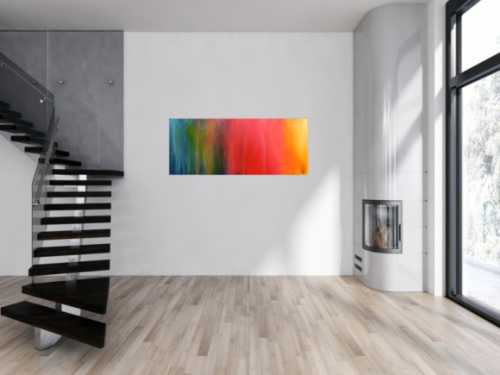 Abstraktes Gemälde sehr bunt modern in Fliesstechnik viele Farben