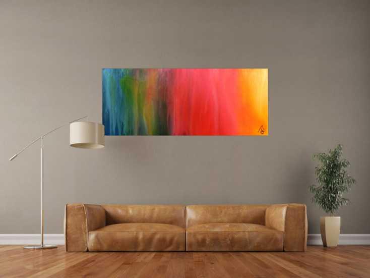#1087 Abstraktes Gemälde sehr bunt modern in Fliesstechnik viele Farben 60x150cm von Alex Zerr