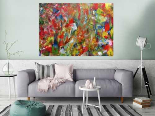 Abstraktes Acrylbild sehr bunt modern Mischtechnik sehr viele Farben gespachtelt