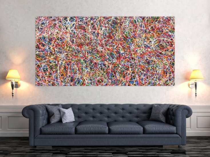 #109 Abstraktes Acrylbild Gemälde bunt 100x200cm von Alex Zerr