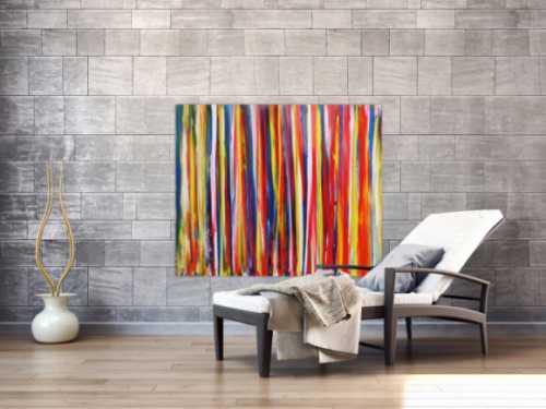 Abstraktes Acrylbild bunte Streifen sehr modern viele bunte Farben