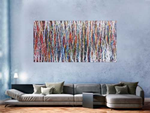 Abstraktes Acrylbild sehr bunt modern zeitgenössisch Action Painting