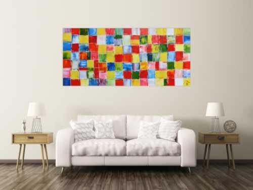 Abstraktes Acrylbild sehr bunt farbige Kacheln bunte Flächen modern und zeitgenössisch