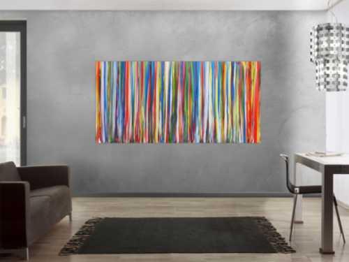 Abstraktes Acrylbild sehr bunt mit vielen farbigen Streifen modern zeitgenössisch