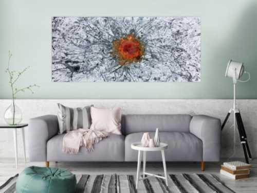 Abstraktes Gemälde Acryl und Rost Mischtechnik Action Painting Rust Art