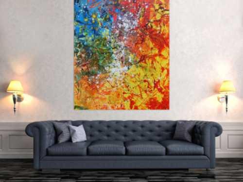 Abstraktes Acrylbild sehr bunt Action Painting und Spachteltechnik modern