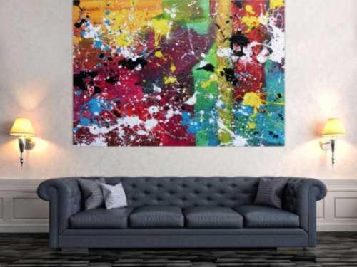 Abstraktes Gemälde modernes Bild sehr bunt Action Painting expressionistisch