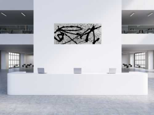 Abstraktes Gemälde schwarz weiß minimalistisch modern schlicht Action Painting