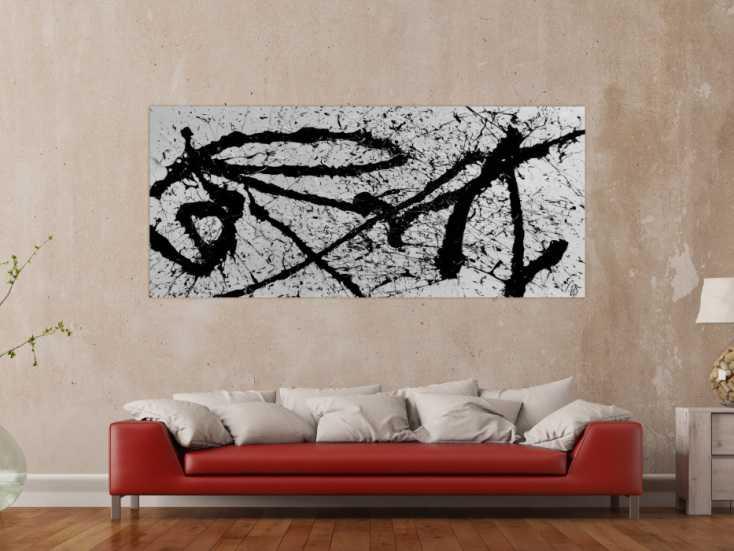 abstraktes gem lde schwarz wei minimalistisch modern schlicht action painting auf leinwand 90x200cm. Black Bedroom Furniture Sets. Home Design Ideas