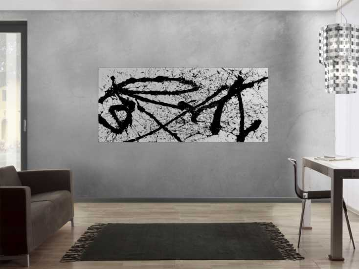 abstraktes gem lde schwarz wei minimalistisch modern schlicht action painting auf leinwand 90x200cm. Black Bedroom Furniture Sets. Home Design Ideas