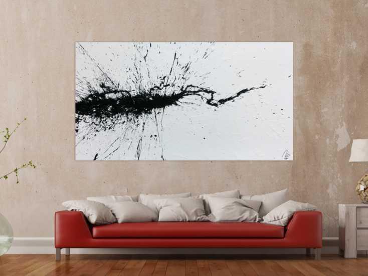 #1098 Abstraktes Acrylbild minimalistisch Action Painting Splash Art modern ... 110x200cm von Alex Zerr