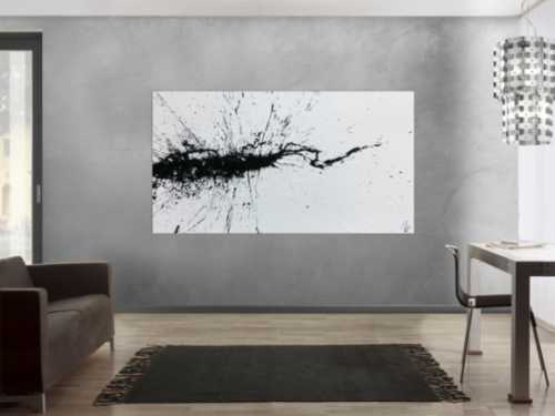 Abstraktes Acrylbild minimalistisch Action Painting Splash Art modern schwarz weiß