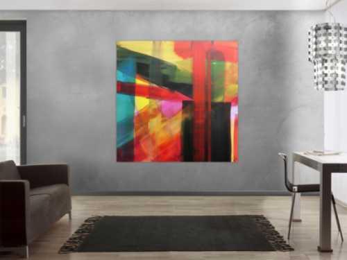 Abstraktes Acrylbild modern bunt viele Farben geometrisch zeitgenössisch