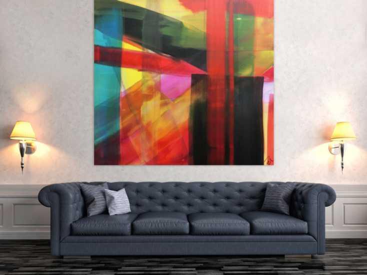abstraktes acrylbild modern bunt viele farben geometrisch zeitgen ssisch auf leinwand 150x150cm. Black Bedroom Furniture Sets. Home Design Ideas
