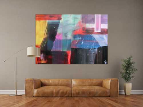 Abstraktes Gemälde modernes Acrylbild sehr bunt modern Mischtechnik