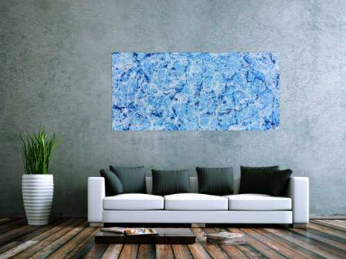 Abstraktes Acrylbild Action Painting modern schlicht hellblau weiß