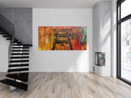 Abstraktes Acrylbild Sehr bunt Spachteltechnik modern mit Förderturm Ruhrgebiet
