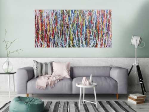 Abstraktes Acrylbild Action Painting Mischtechnik Spachteltechnik sehr modern bunt
