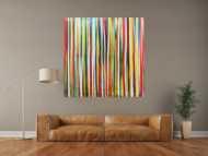 Abstraktes Acrylbild bunte Streifen sehr modern Spachteltechnik viele Farben