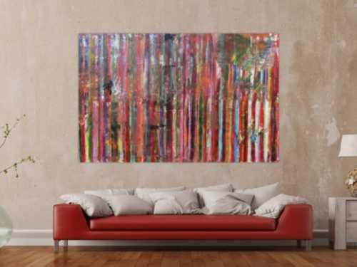 Abstraktes Acrylbild Vintage Look bunte Streifen sehr modern viele Farben