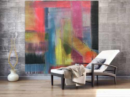 Abstraktes Acrylbild sehr modern groß Mischtechnik viele bunte Farben