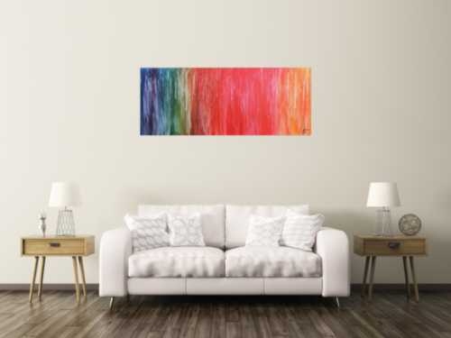 Abstraktes Acrylbild Fluid Painting sehr bunt modern viele Farben