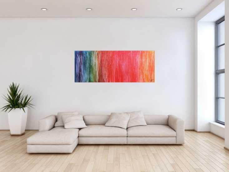 #1107 Abstraktes Acrylbild Fluid Painting sehr bunt modern viele Farben 60x150cm von Alex Zerr