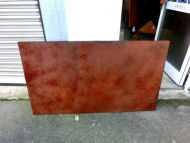 Detailaufnahme Abstraktes Bild aus echtem Rost sehr modern dunkle Farbe Rust Art - Kust aus Rost