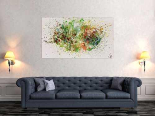 Abstraktes Acrylbild Fluid painting sehr viele Farben und sehr bunt modern Fliesstechnik