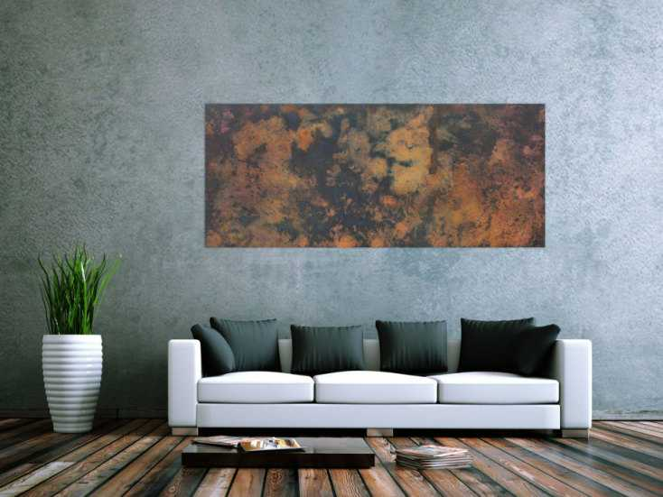 #1110 Abstraktes Bild aus echtem Rost und Acryl sehr mordernes Gemälde ... 80x180cm von Alex Zerr
