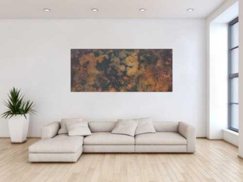Abstraktes Bild aus echtem Rost und Acryl sehr mordernes Gemälde Rost auf schwarzem Hintergrund