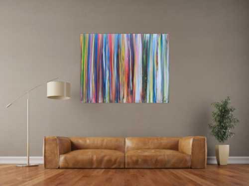 Abstraktes Acrylbild sehr bunt viele Streifen sehr modere Farben zeitgenössisch groß