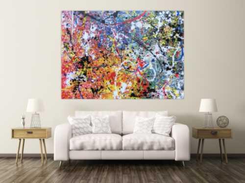 Abstraktes Acrylbild sehr groß modern Action Painting abstrakt expressionistisch