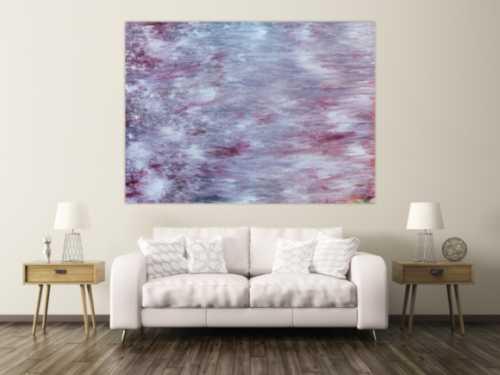 Abstraktes Acrylbild helle Farben Flieder Pastell modern zeitgenössisch