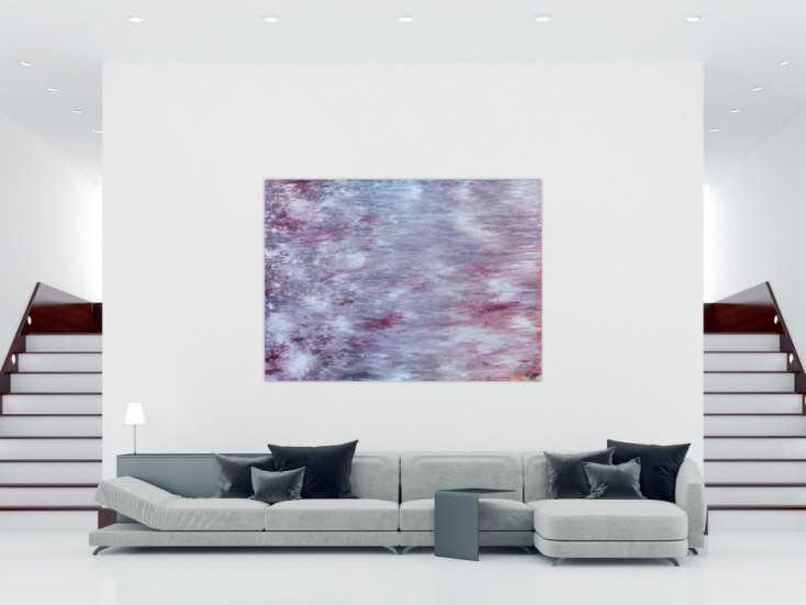 abstraktes acrylbild helle farben flieder pastell modern zeitgen ssisch auf leinwand 150x200cm. Black Bedroom Furniture Sets. Home Design Ideas