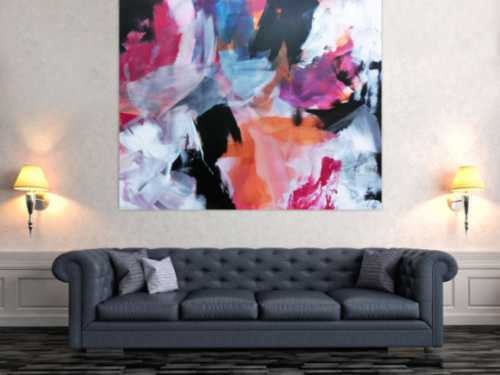 Abstraktes Acrylbild Mischtechnik bunt modern weiß schwarz pink orange