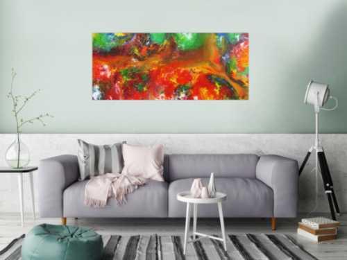 Abstraktes Acrylbild sehr bunt Fließtechnik sehr modern zeitgenösstisch Fluid Painting