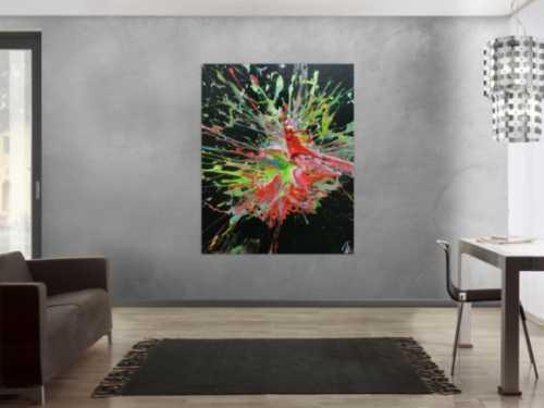 Abstraktes Acrylbild sehr modern Acrtion Painting Splash Art sehr bunt zeitgenössisch schwarzer Hintergrund