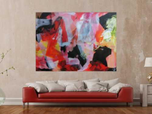 Abstraktes Acrylbild sehr modern Mischtechnik Bunte Farben weißt schwarz rosa rot gelb