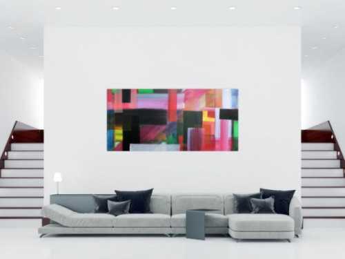 Abstraktes Acrylbild bunte Streifen sehr modern viele Farben hell und dunkel zeitgenössisch