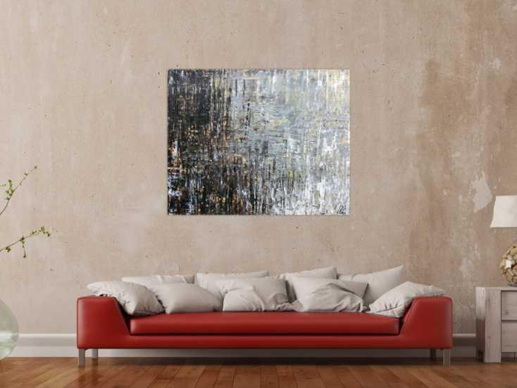 abstraktes acrylbild moderne farben grau wei braun schwarz zeitgen ssisch auf leinwand 100x120cm. Black Bedroom Furniture Sets. Home Design Ideas